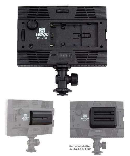 LED-Videoleuchte CN-B150 Rückseite