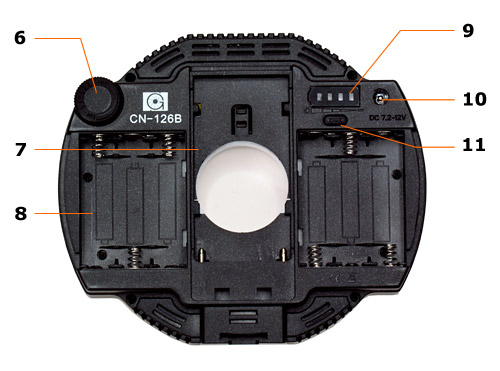 LED Videoleuchte CN-126B Rückseite