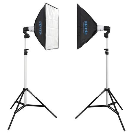 METTLE AS-45 Flash-Kit 200 (2x 45 WS) mit Softboxen 45x45 cm